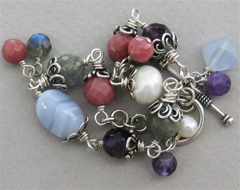 Jewelry Handmade Websites - handmade amethyst and labradorite multigem bracelet
