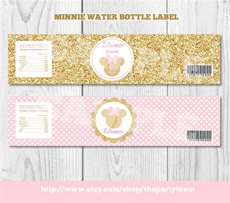 printable gold label pink and gold minnie mouse water bottle labels minnie