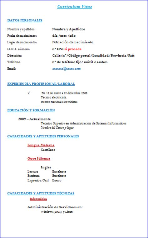 Descargar Plantillas De Curriculum Vitae Para Word 2003 descargar plantillas cv word 2003