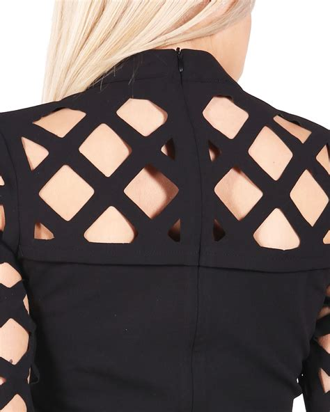 ledies leser cutting women ladies caged laser cut out bodycon long sleeve mini