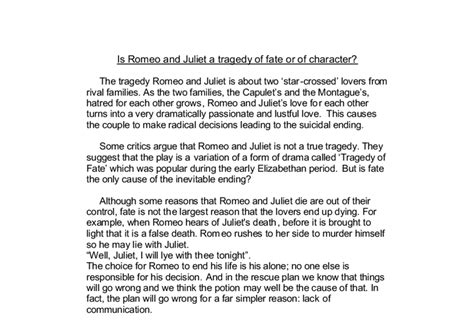 Romeo And Juliet Fate Essay by Romeo And Juliet Essay Fate Tragedy