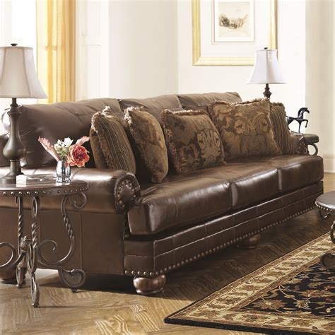 leather couch ashley furniture signature design by ashley leighton leather sofa reviews