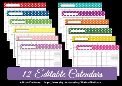 free printable editable calendars 2014 editable 12 polka dot calendars you choose 2013 2014