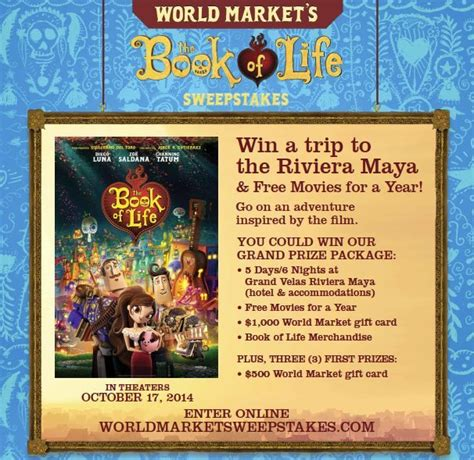 Worldmarket Sweepstakes - the book of life world market exclusives