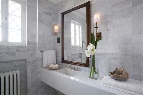 Tumbled marble tile bathroom transitional with design ideas stone accessory sets3