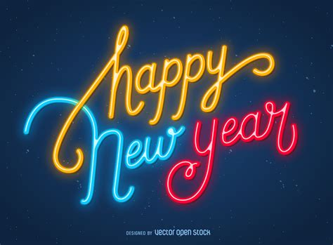 new year year signs happy new year neon sign vector