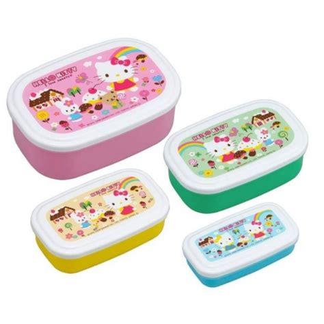 Bento Oval Sekat 4 microwavable nested food container 4 bento boxes hello for