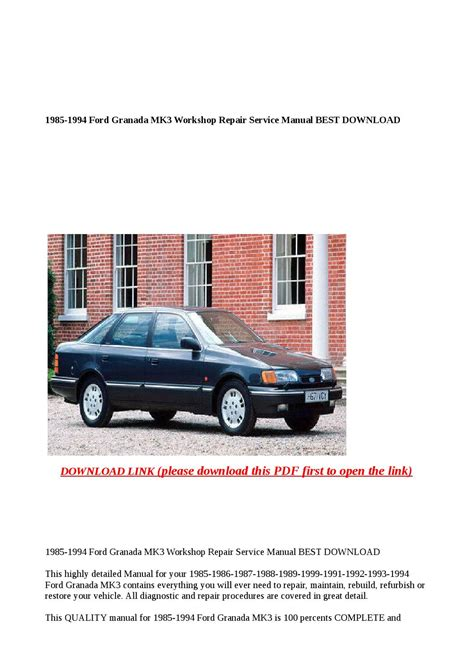 what is the best auto repair manual 1994 mercury topaz lane departure warning 1985 1994 ford granada mk3 workshop repair service manual best download by xiumin issuu