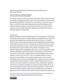 It Project Literature Review by Social Research Methods And Open Educational Resources A Literature