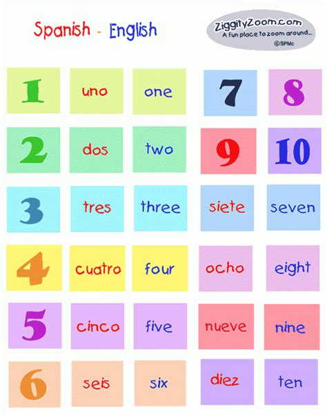 printable numbers in spanish and english spanish english number match ziggity zoom