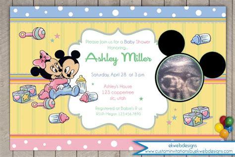 Minnie And Mickey Mouse Baby Shower by Baby Mickey And Minnie Mouse Ultrasound Baby Shower Invitation