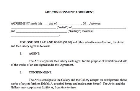 It Takes Two To Tango The Importance Of Artist Gallery Contracts Artist Consignment Agreement Template