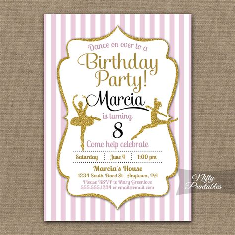 printable ballerina birthday invitations ballet dancing birthday invitations nifty printables