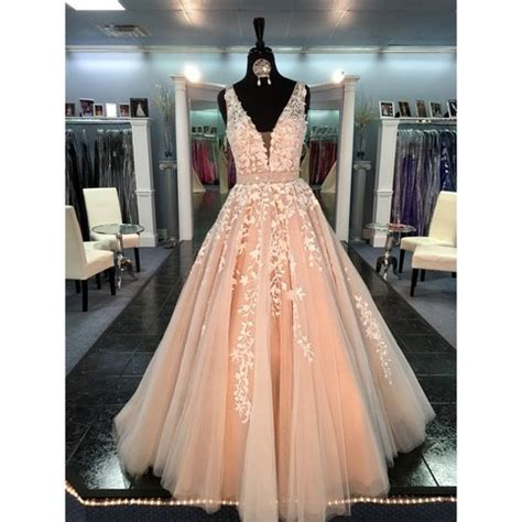 Where To Buy Cheap Home Decor Online lace tulle a line evening prom dresses sexy deep v