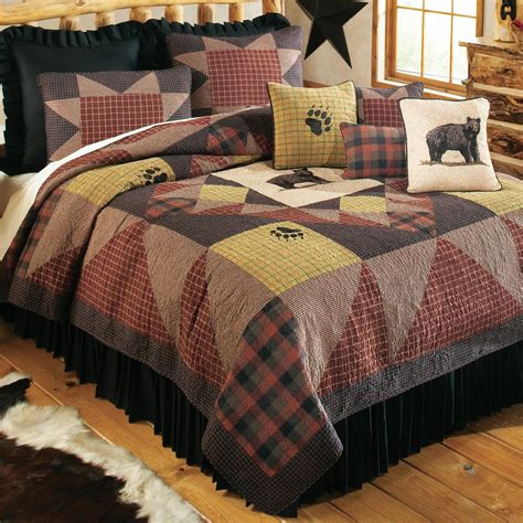 quilted bedding rustic bedding size s paw quilt black forest decor