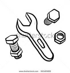 Nuts Bolts And Wrench / Cartoon Vector Illustration Hand Drawn  sketch template