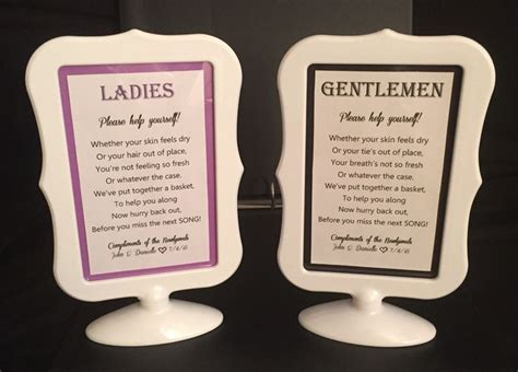 what do you put in a wedding bathroom basket adorable bathroom signs to put next to a basket of goodies