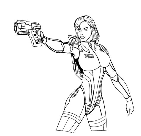 coloring book effect free cmdr shepard lineart by josephb222 on deviantart