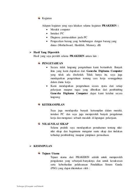contoh judul laporan prakerin tkj contoh laporan prakerin tkj