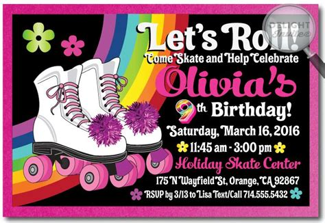 skating invitations templates roller skate birthday invitation rollerskate