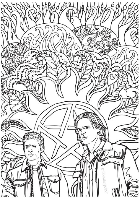 Supernatural Coloring Images Sam And Dean Winchester Fangirl Quest Color Book Page