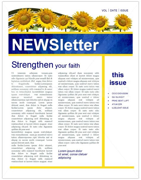 Sunflowers Church Newsletter Template Newsletter Templates Christian Newsletter Templates