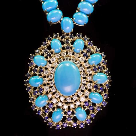 Blue Saphire 3 03 Ct 96 03ct turquoise 3 13ct sapphire 1 78ct necklace