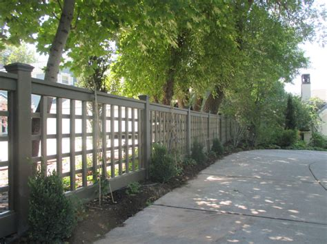 awesome wood material creating unique fence ideas designed with stripes style covering creative design idea trex posts and rails with square lattice trex fencing the