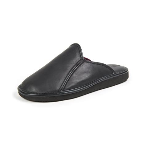 slipper mens douglas 3 black leather mens slipper