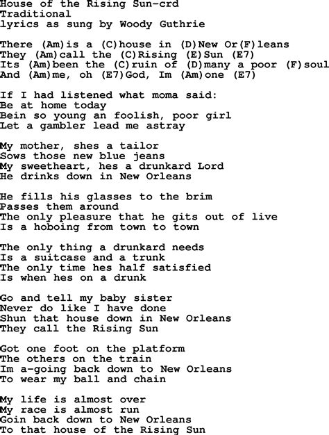 the house of the rising sun lyrics woody guthrie song house of the rising sun lyrics and chords