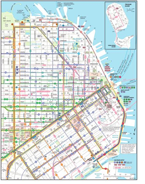 san francisco map muni san fran muni large downtown map travels