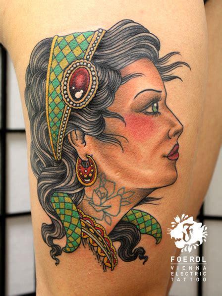 new school gypsy tattoo new school women gypsy thigh tattoo by vienna electric tattoo