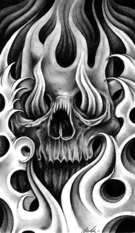 awesome fire and flame skull tattoo jpg