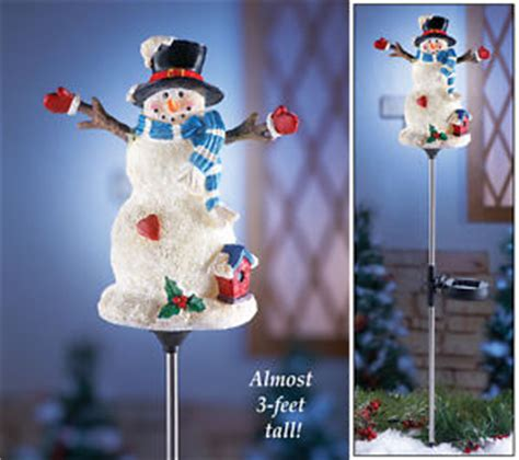 snowman solar light garden stakes solar power lighted snowman garden stake