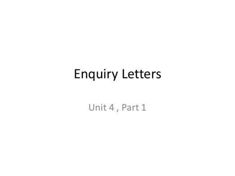 Inquiry Letter Slideshare Enquiry Letters