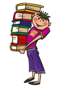 free boy carrying a pile of books clip art