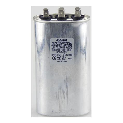 capacitor 45 mfd tradepro 440 volt 45 10 mfd dual motor run oval capacitor tp455440 the home depot
