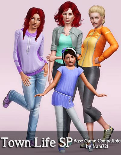 sims 3 basegame clothes and hair my sims 3 blog town life sp clothing made base game
