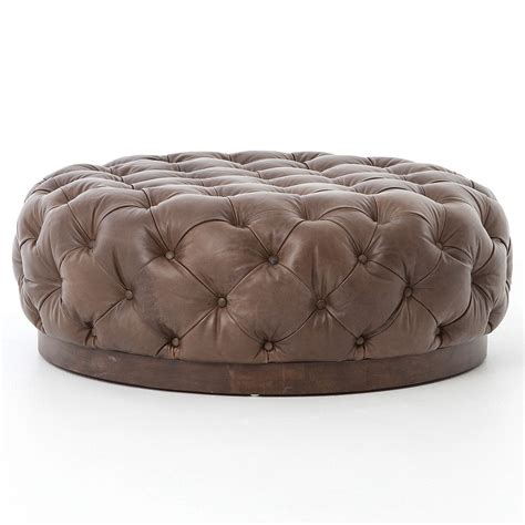 tufted round leather ottoman plateau round tufted leather cocktail ottoman zin home