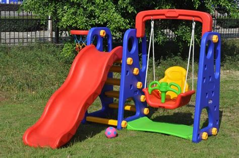 plastic slide and swing set happy kids toys playing set seesaw swing slide