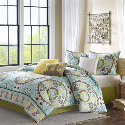home essence keya blue 7 piece bedding comforter set