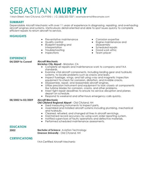 Aircraft Mechanic Resume by Best Aircraft Mechanic Resume Exle Livecareer