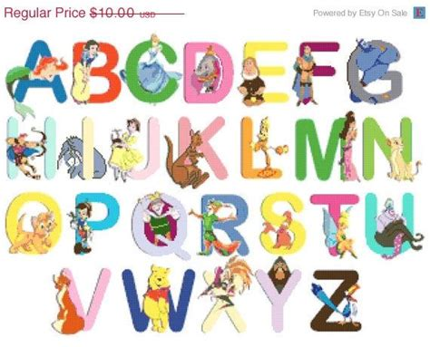 Character With Letter Y On Sale Instant Alphabet Disney Characters 23 64 Quot X17 71 Quot Cross Stitch Pattern