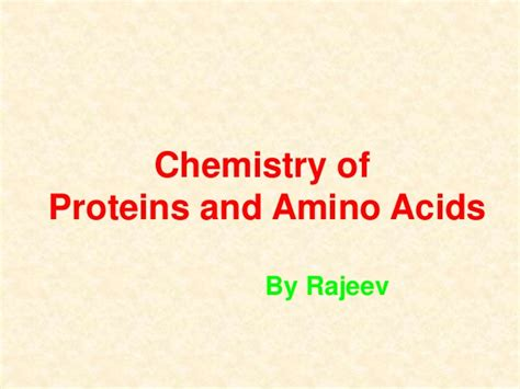 j protein chemistry amino acid and protein chemistry