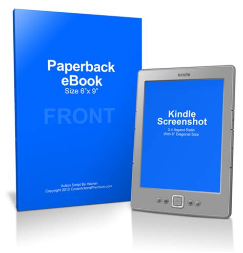 Ebook And Kindle Mockup Cover Actions Premium Mockup Psd Template Kindle Paperback Template