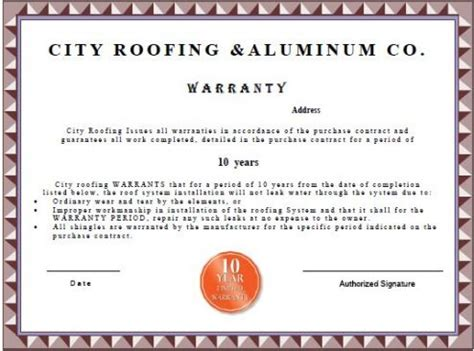 Warranty Roofing Labor Warranty Template