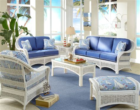 Regatta Indoor White Wicker And Rattan 5 Pc Living Room Rattan Living Room Set