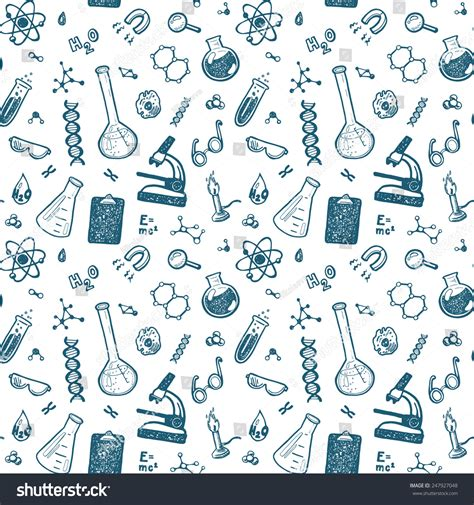 pattern background science hand drawn chemistry seamless pattern science stock vector