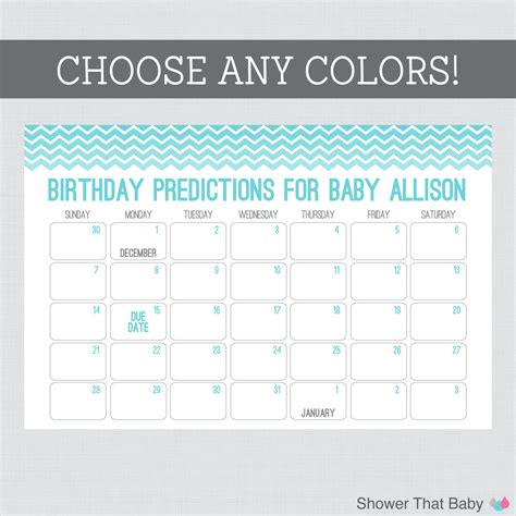 Baby Shower Calendar Template baby shower guess due date free template search results