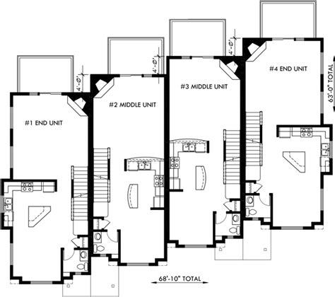 4 plex apartment floor plans townhouse plans 4 plex house plans 3 story townhouse f